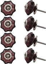 Indian-Shelf Handmade Glass Marigold Flower Cabinet Knobs Kitchen Pulls Drawer Handles(Purple, 1.75 Inches)-Pack of 8