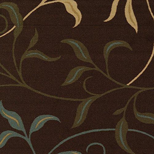 "Ottomanson OTH2068-3X10 Ottohome Runner Rug, 2'7"" X 10'0"", Chocolate Leaves"