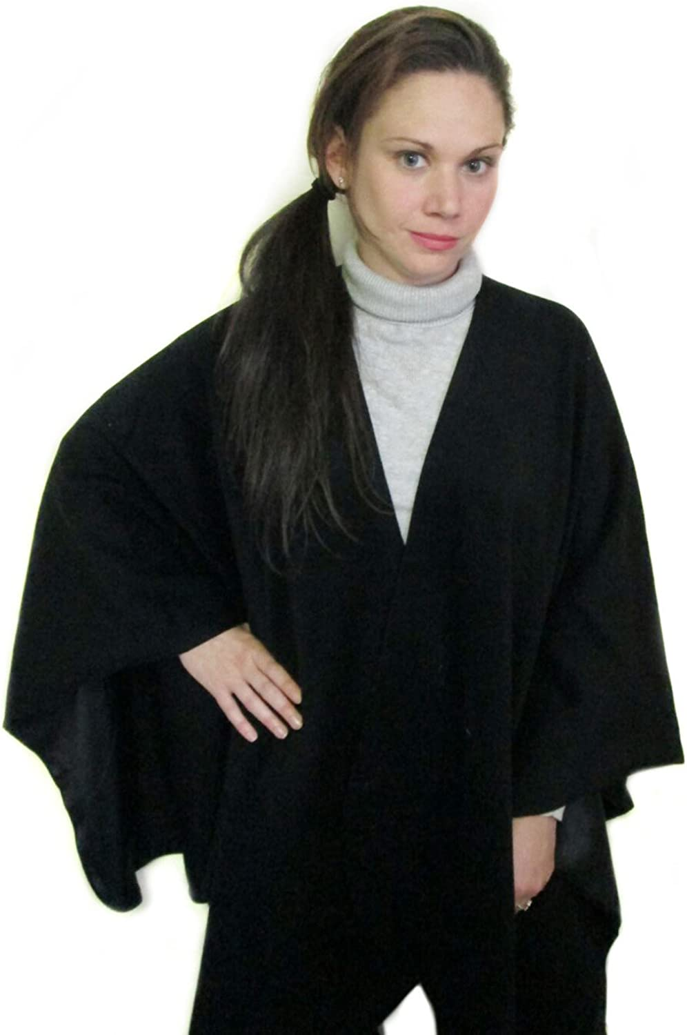 AllPurpose Plain Black Cashmere Cape