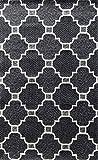 Tapis Home Cotton Eva 100% Coton, Coton, Anthracite/argenté, 80 x 120 cm
