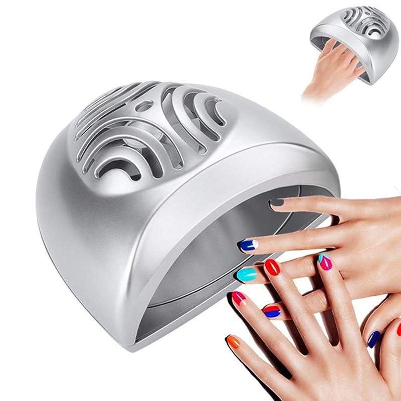 ミトン反抗郡ポータブルミニネイルドライヤーファンネイルアート乾燥ツール指の爪マニキュアエアドライヤー送風ファンマニキュアペディキュアツール、シルバー