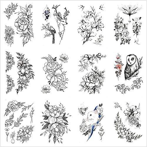 Tatouage Temporaire,Autocollants De Transfert De Corps 12 Feuilles Hibou Fleurs Chinoises Et Oiseaux Tatouage pour Homme Femmes Enfants Bras Jambe Poitrine Dos Étanche Amovible Non Toxique sans Dang