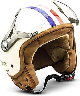 "SOXON® SP 325 ""Paris"" · Jet Helm · Motorrad Helm Roller Helm Scooter Helm Moped Mofa Helm Chopper Retro Vespa Vintage Pilot Biker Helmet Brille · ECE 22.05 Visier Schnellverschluss Tasche L (59 60cm)"