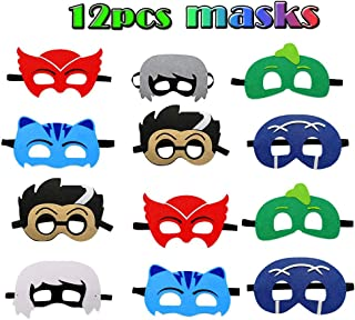 12 pcs Cartoon Hero Felt Masks Set Party Favors for Children Cosplay Character Party PJ Masks Party Supplies for Kids Boys Girls