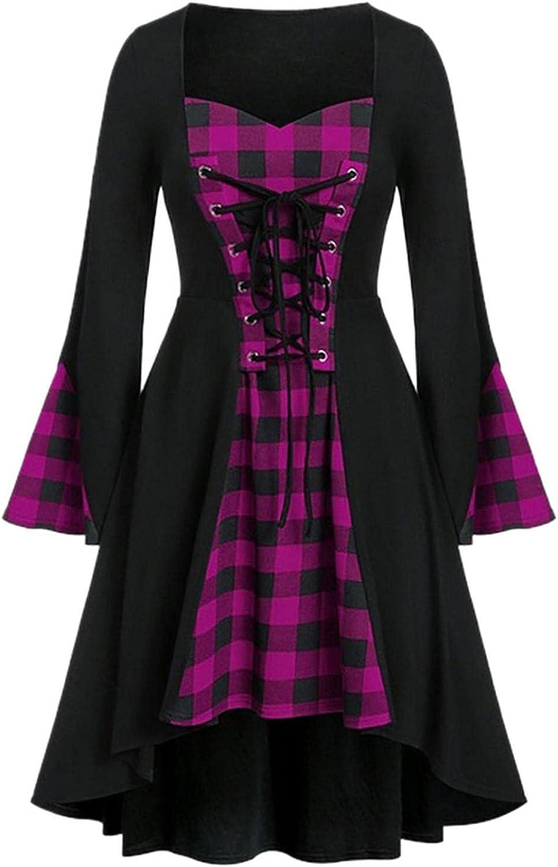 Masbird Womens Renaissance Dress Medieval Costume,Steampunk Victorian Gothic Lace Swing Dress Plus Size Retro Gown