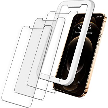 Coolwee Tempered Glass Screen Protector for iPhone 12 Pro Max, 3 Packs, 9H Anti-Scratch, HD Clarity, Haptic Touch [Bubble Free] [Case Friendly] [Easy Installation Alignment]
