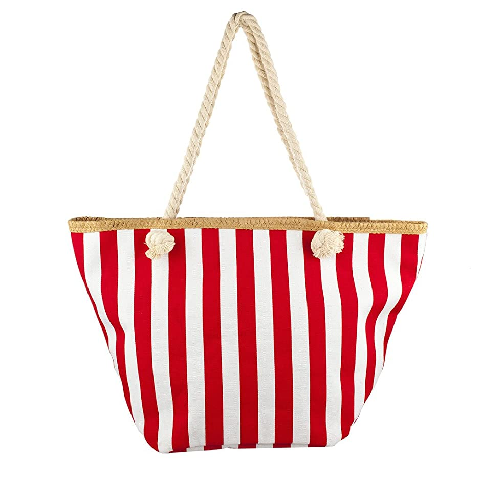 Lux Accessories Lux Accessories Womens Zip Up Beach Bag Red White Stripes
