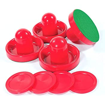 Lemon home Red Air Hockey Pushers and Red Air Hockey Pucks, Goal Handles Paddles Replacement Accessories for Game Tables (4 Striker, 4 Puck Packs)