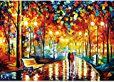 Jigsaw Puzzles for Adults 1000 Piece Puzzle – Mini Paper Hard & Challenge Relax Fun Beautiful Rainy Night Stroll Jigsaw Puzzle (12in x 17in)
