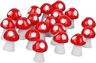 Lot de 20pcs Champignon Décoration pour Bonsaï Paysage Miniature (Rouge)