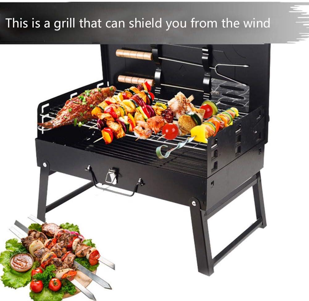 Barbecue Au Charbon De Bois, Portable Barbecue Pliable BBQ Mini Grill pour 4 À 6 Personnes pour Barbecue, Jardin, Pique-Nique, Camping 44 X 27 X 47 Cm, Noir,Upgrade Upgrade