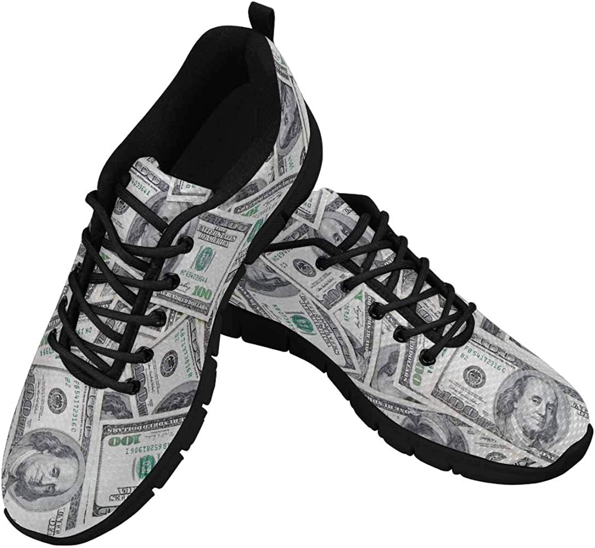 InterestPrint Background of 100 Dollar Bills Women's Lace Up Running Comfort Sports Sneakers