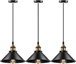Licperron - Lámpara colgante con estilo industrial, socket E26 E27, clásico, colgante, estilo retro, lámpara de cocina, il...