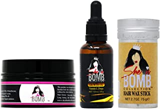 She Is Bomb Collection Edge Control 3.5 Oz. + Growth Oil Drop 1 Oz. + Hair Wax Stick 2.7 Oz.