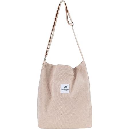 Funtlend Handtasche Damen groß Cord Tasche Damen Handtasche Shopper Damen für Uni Arbeit Mädchen Schule (B-Beige)