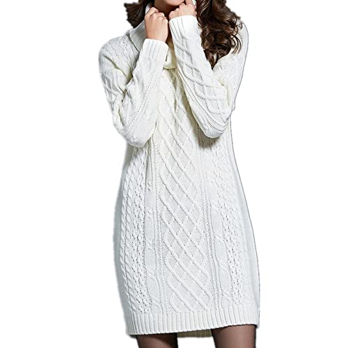 79b4bc39de7 Sorrica Women s Turtleneck Cable Knit Long Sleeve Tunic Pullover Sweater  Dress Top