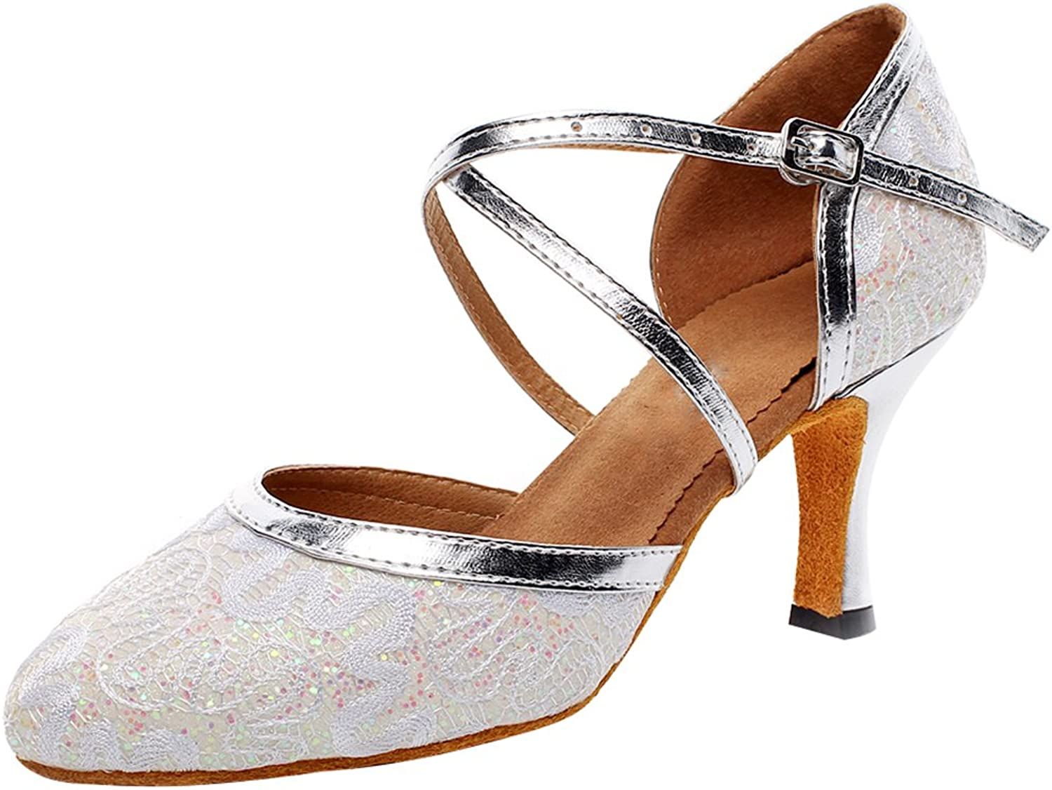ABBY Products Womens Salsa Dance shoes Latin Tango Cha-Cha Closed Toe Cloth Ankle Strap 7116 Silvery(2IN Thick) US Size7