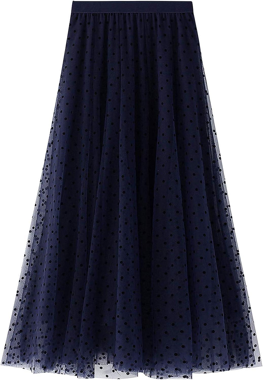 lookwoild Women Casual Midi Skirt High Waist Layered Polka Dot Mesh Skirt Pleated A-Line Swing Skirt Y2K Clubwear (Drak Blue1, One Size)