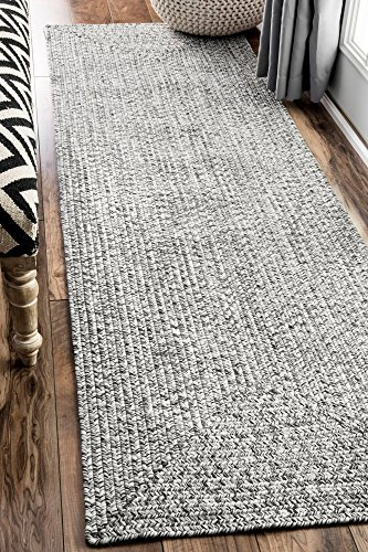nuLOOM Lefebvre Braided Indoor/Outdoor Runner Rug, 2' 6' x 8', Light Grey
