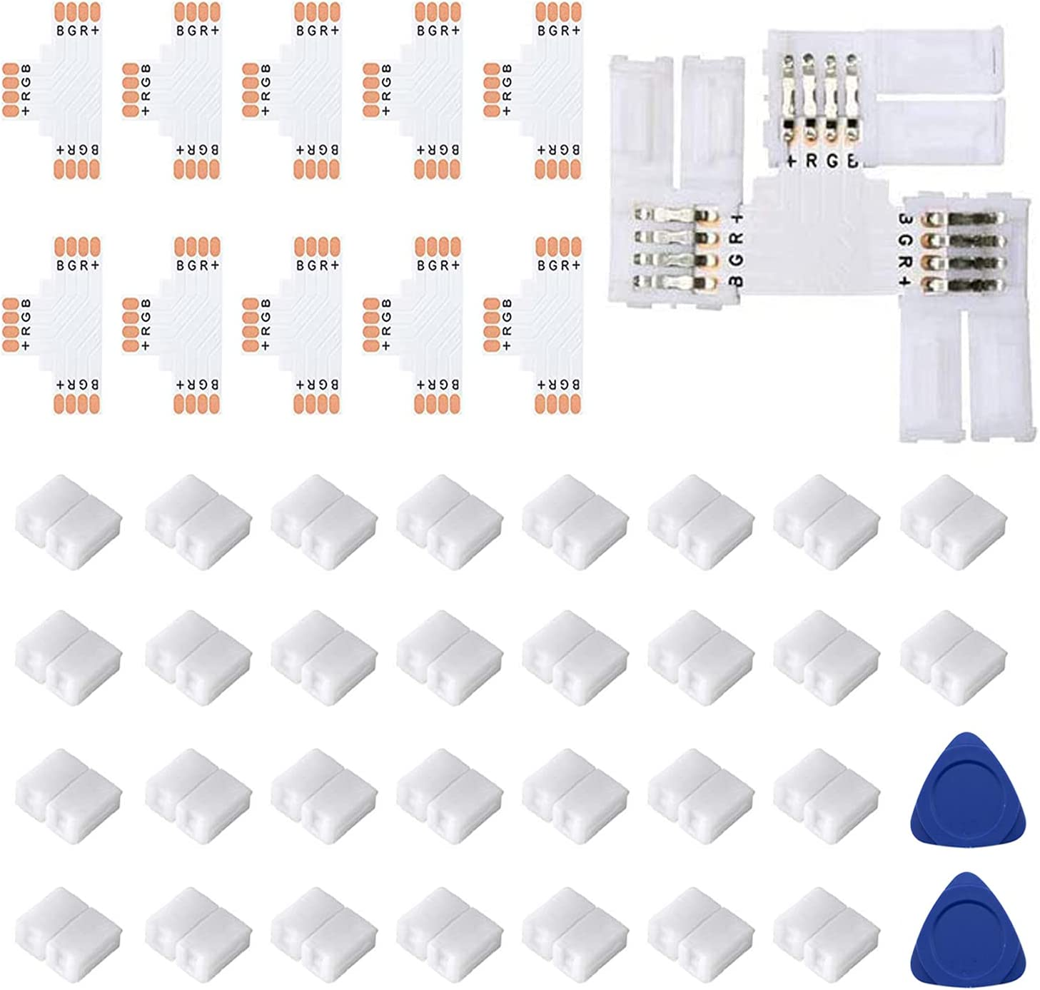Ranking TOP3 Fntek T Shape 4-Pin LED Connectors 10-Pack Wide So Unwired Popular product 10mm