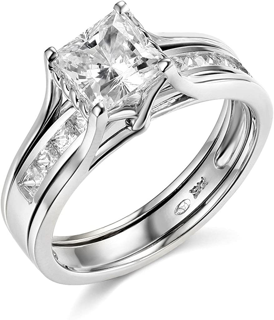TWJC 14k White Gold outlet Solid Square Princess Wedd Engagement Cheap mail order shopping Ring