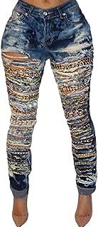 UUYUK Women Womens High Waist Chain Skinny Denim Ripped Boyfriend Jeans liwu