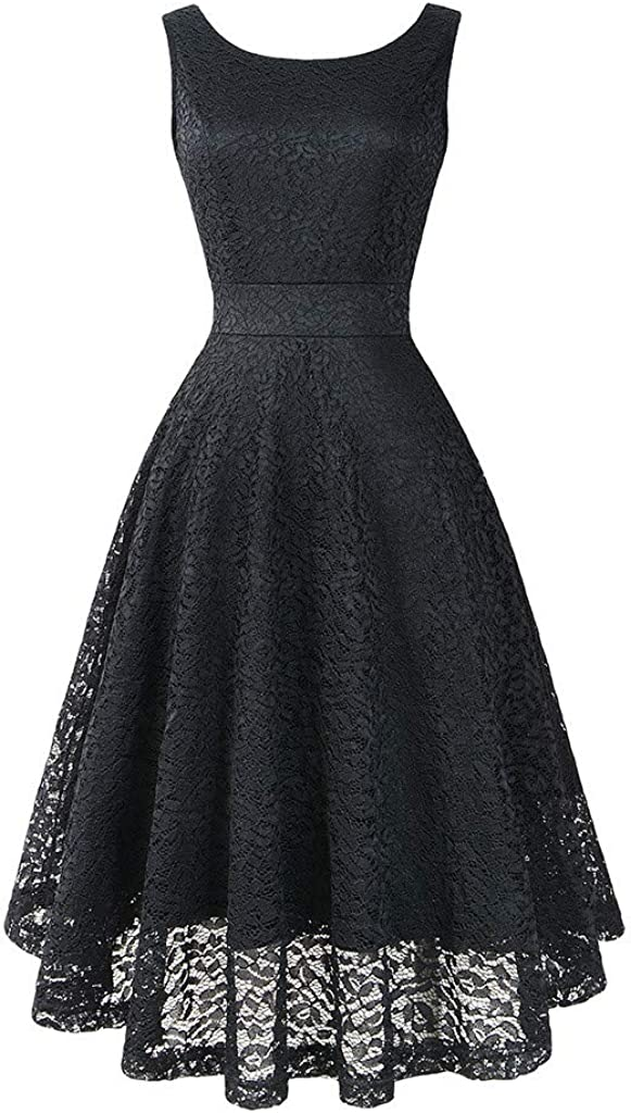 Women's Crew Neck Vintage Lace Swing Pleated Christmas Dress Cocktail Party Club Pink