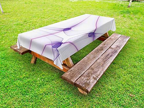 ABAKUHAUS Spiers Tafelkleed voor Buitengebruik, Unique Modern, Decoratief Wasbaar Tafelkleed voor Picknicktafel, 58 x 84 cm, paars Wit