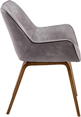 YEEFY Gray Leather Contemporary Living Room Chairs with arms Upholstered Accent Chairs Set of 2 (Ashen)