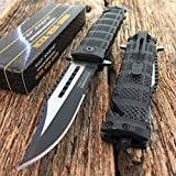 Tac-force Black Spring Assisted Open Sawback Bowie Tactical Rescue Folding Pocket Knife