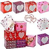 24 Piezas Cajas con Ventana PVC de San Valentín Cajas Pequeñas de Magdalenas de San Valentín para Postres, Galletas, Magdalenas, 3,9 x 3,9 x 3,0 Pulgadas, 6 Estilos Diferentes