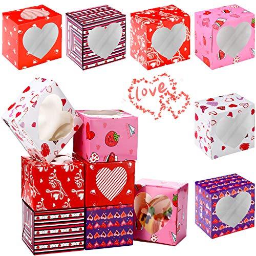 24 Piezas Cajas de Magdalenas de San Valentín con Ventana PVC para Postres, Galletas, Magdalenas, 3,9 x 3,9 x 3,0 Pulgadas, 6 Estilos