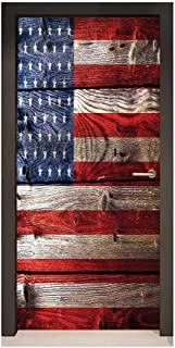 Homesonne Rustic American USA Flag Art Door Decals Fourth of July Independence Day Weathered Retro Wood Wall Looking Country Emblem for Bedroom Decoration,W17.1xH78.7