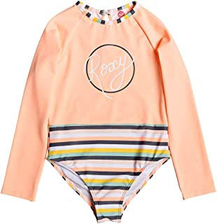 Girls Lets Go Surfing One Piece Swim Suit Salmon Candy - Easy Stretch UV Sun Protection and SPF Properties