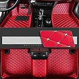 8X-SPEED Alfombrillas Coche de Cuero para For BMW Serie 3 E90 E93 2008-2012 (4-Puertas) Protección Alfombras de Cobertura Completa Antideslizante Moqueta Red
