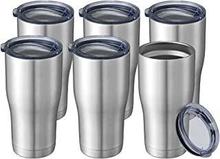20 oz 6 Packs Wholesale in Bulk Insulated Stainless Steel Tumblers Reusable Coffee Travel Mugs with Lid Hot n Iced Cups, D...