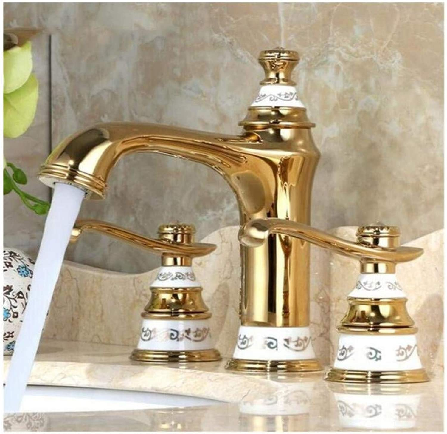 Faucet Lead-Free Square Innovationfaucet Good Quality Basin Mixer Tap 2 Handles 3 Holes Hot and Cold Faucet