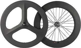 FidgetFidget Wheel Fixed Gear Carbon Wheelset Front 70 Tri Spoke Rear 88mm Track Clincher Hot