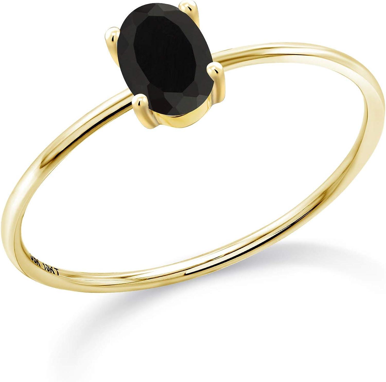 Gem 流行のアイテム Stone King 10K Yellow Gold Engagement Black Women 驚きの値段 Onyx Oval