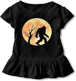 Funny Bigfoot Sasquatch Full Moon Toddler Baby Girls' Short Sleeve Ruffle T-Shirt