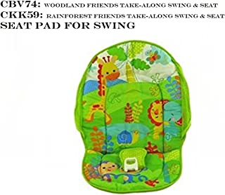 Replacement Seat Pad / Cushion / Cover for Fisher Price Rainforest Friends Take Along Swing (Model CKK59) or Fisher Price Woodland Friends Take Along Swing (Model CBV74)