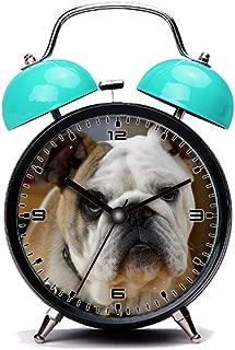 GIRLSIGHT Blue Alarm Clock, Retro Portable Twin Bell Beside Alarm Clocks with Nightlight-231.English Bulldog