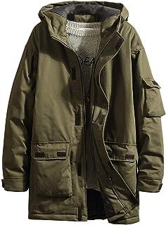 Sunward Men Coat Jacket Winterwear,Men's Autumn Winter Outwear Mid-length Hooded Thickened Multi-pocket Jacket Coat