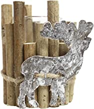 Amosfun Christmas Reindeer Wooden Tealight Candle Holder Rustic Vintage Christmas Table Decorations Without Candles