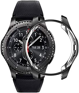 Case for Samsung Galaxy Watch 46mm Gear S3 Frontier,Soft TPU Shock-Proof Protective Bumper Sleeve Protector Cover for Galaxy Watch 46mm (Black)
