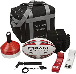 Tag Rugby Bundle - Includes 20 Belts with Flags, 1 Pro Training Ball, 1 Ball Pump, 1 Whistle, 15 Red Cones, 15 White Cones, and Carry Bag