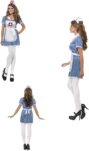 Erwachsene Naughty Krankenschwester Sexy Uniform Fancy Dress Kostüm, Blau, mit Kleid, Schürze und Mütze Matron Carry on Hen Do Festival Karneval Fun Run Party Fun 24477