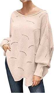Women's Knit Sweater Batwing Sleeve Pullover Loose Hollow Knit Sweaters