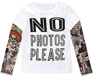Jurassic World Unisex Baby Kids Boys Cotton T-Shirt with Mesh Tattoo Sleeve