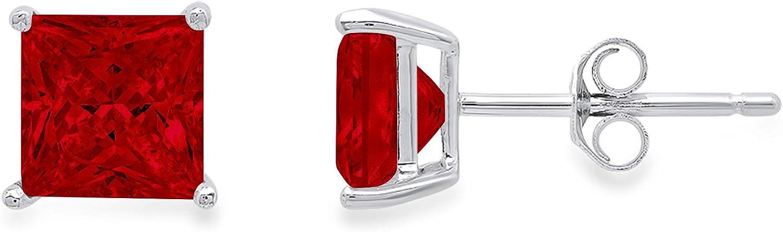 2.9ct Brilliant Princess Cut Solitaire Natural Crimson Deep Dark Red Garnet gemstone Unisex Designer Stud Earrings Solid 14k White Gold Push Back conflict free Jewelry